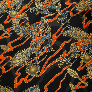 Golden Tatsu on Black - Alexander Henry 100% Cotton Fabric