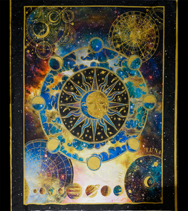 "In The Beginning Fabrics Cosmos Striped Outer Space By Jason Yenter Large 36"" Panel Multi"