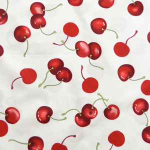 Large Cherries on White Print 100% Cotton Fabric