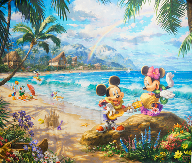 Mickey and Minnie Hawaii Panel Digital Cotton Prints