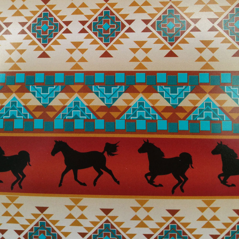 Wild Horses-Red Southwest Tribal Print 100% Cotton