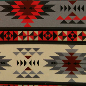 Red and Gray Bar Southwest Tribal Print 100% Cotton
