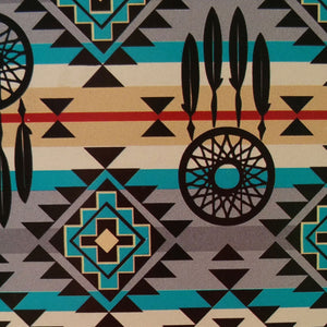 Turquoise and Gray Diamond Dreamcatcher Southwest Tribal Print 100% Cotton