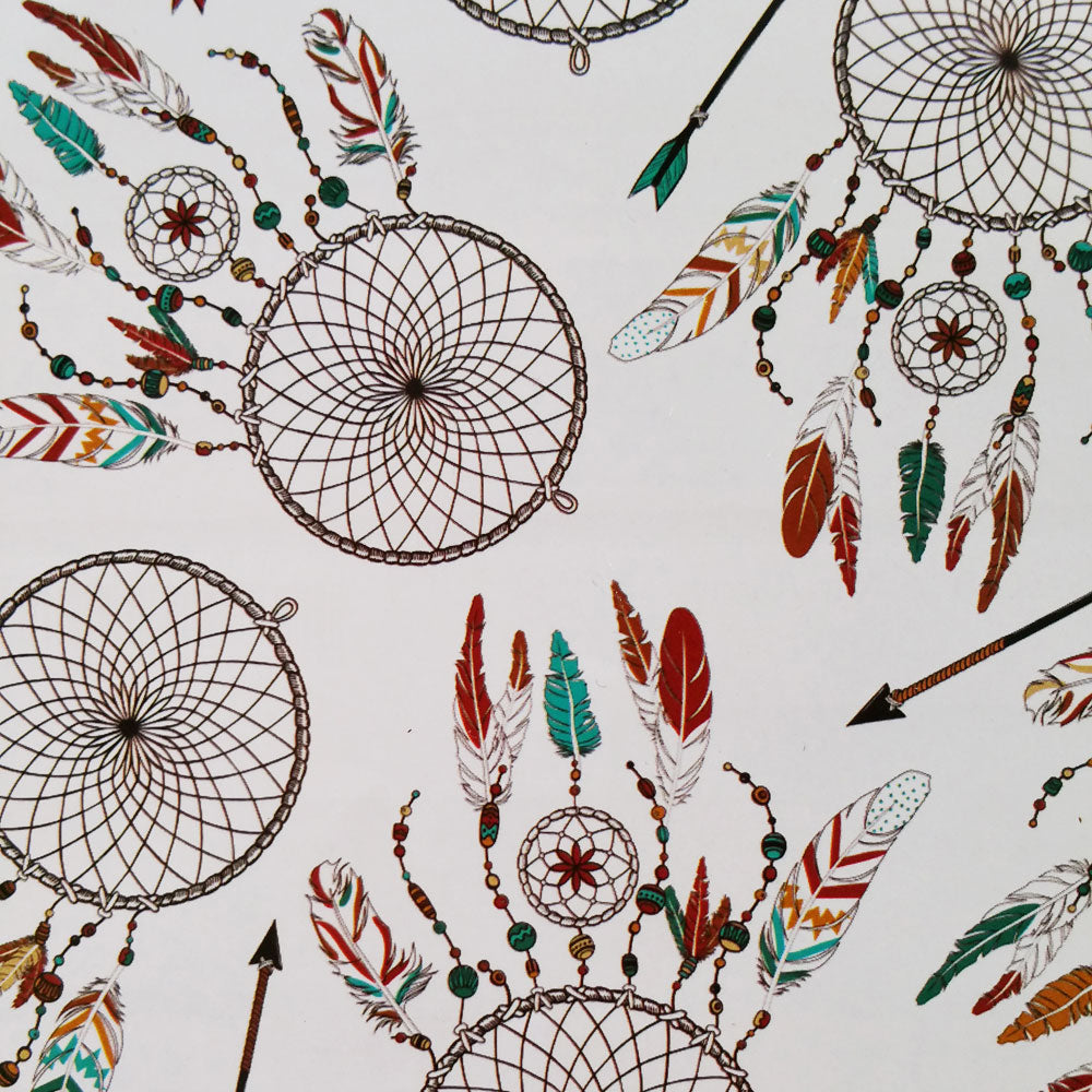 White Dreamcatcher Southwest Tribal Print 100% Cotton
