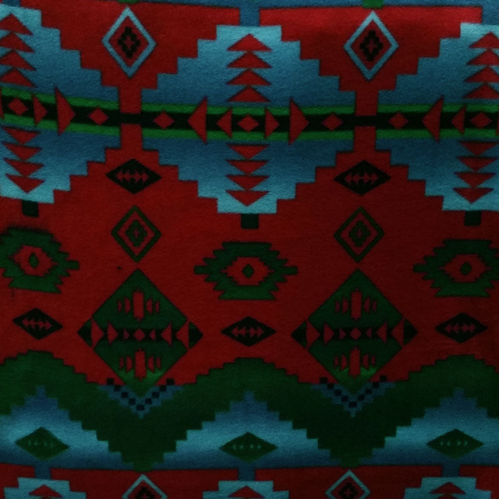 Dark Red and Turquoise Southwest Fleece Fabric