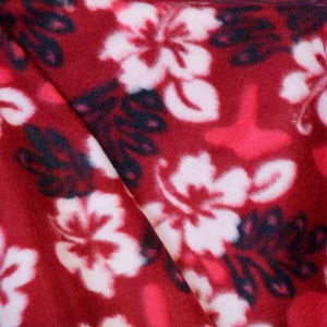 Red and Black w/White Flower Hawaiian Print