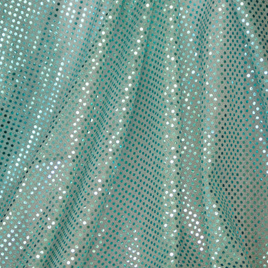 Aqua Blue Confetti Dot Sequin Cheer Bow Fabric by the Yard