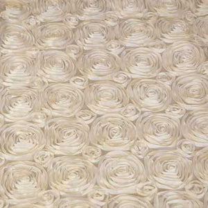 Ivory Rosette Satin Fabric by the Yard
