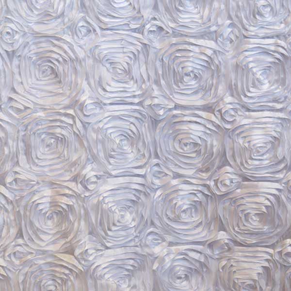 White Rosette Satin Fabric by the Yard