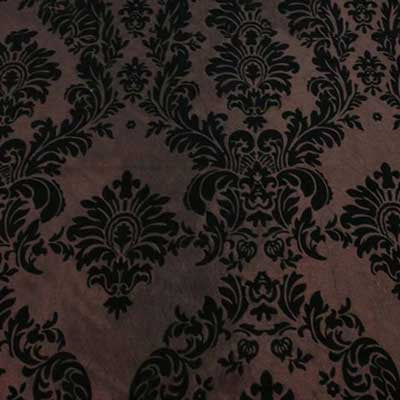 Flocked Brown Taffeta with Black Damask