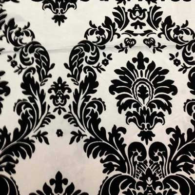Flocked Ivory Taffeta with Black Damask