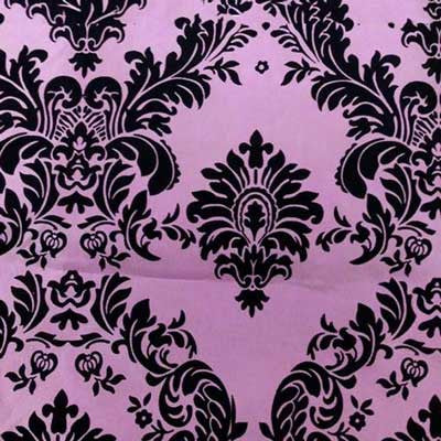 Flocked Pink Taffeta with Black Damask