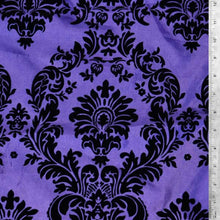 Flocked Purple Taffeta with Black Damask Fabric