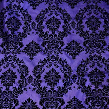 Flocked Purple Taffeta with Black Damask