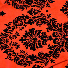 Flocked Red Taffeta with Black Damask Fabric - Reduced Price