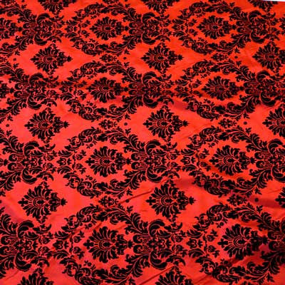 Flocked Red Taffeta with Black Damask Fabric
