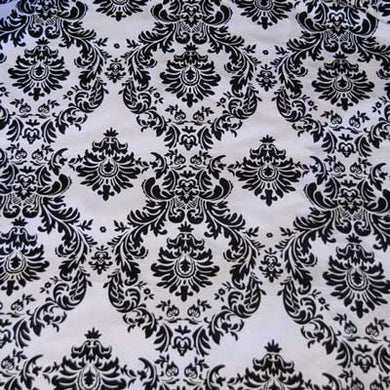 Flocked White Taffeta with Black Damask Fabric