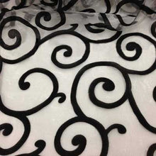 Flocked Black on White Organza Swirls