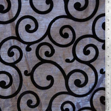 Flocked Black on White Organza Swirls Fabric