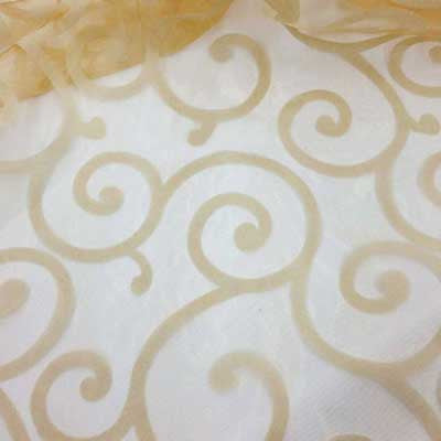 Flocked Gold Organza Swirls