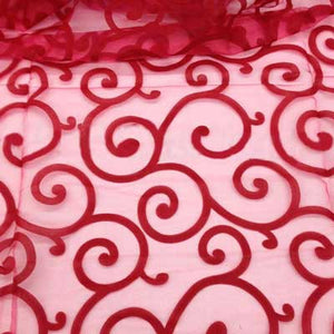 Flocked Red Organza Swirls