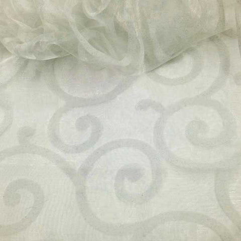 Flocked White Organza Swirls