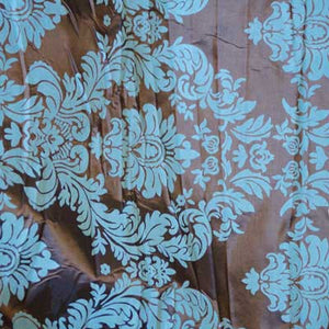 Flocked Brown Taffeta with Turquoise Blue Damask