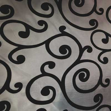 Flocked Sliver Taffeta with Black Swirls