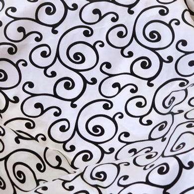 Flocked White Taffeta with Black Swirls