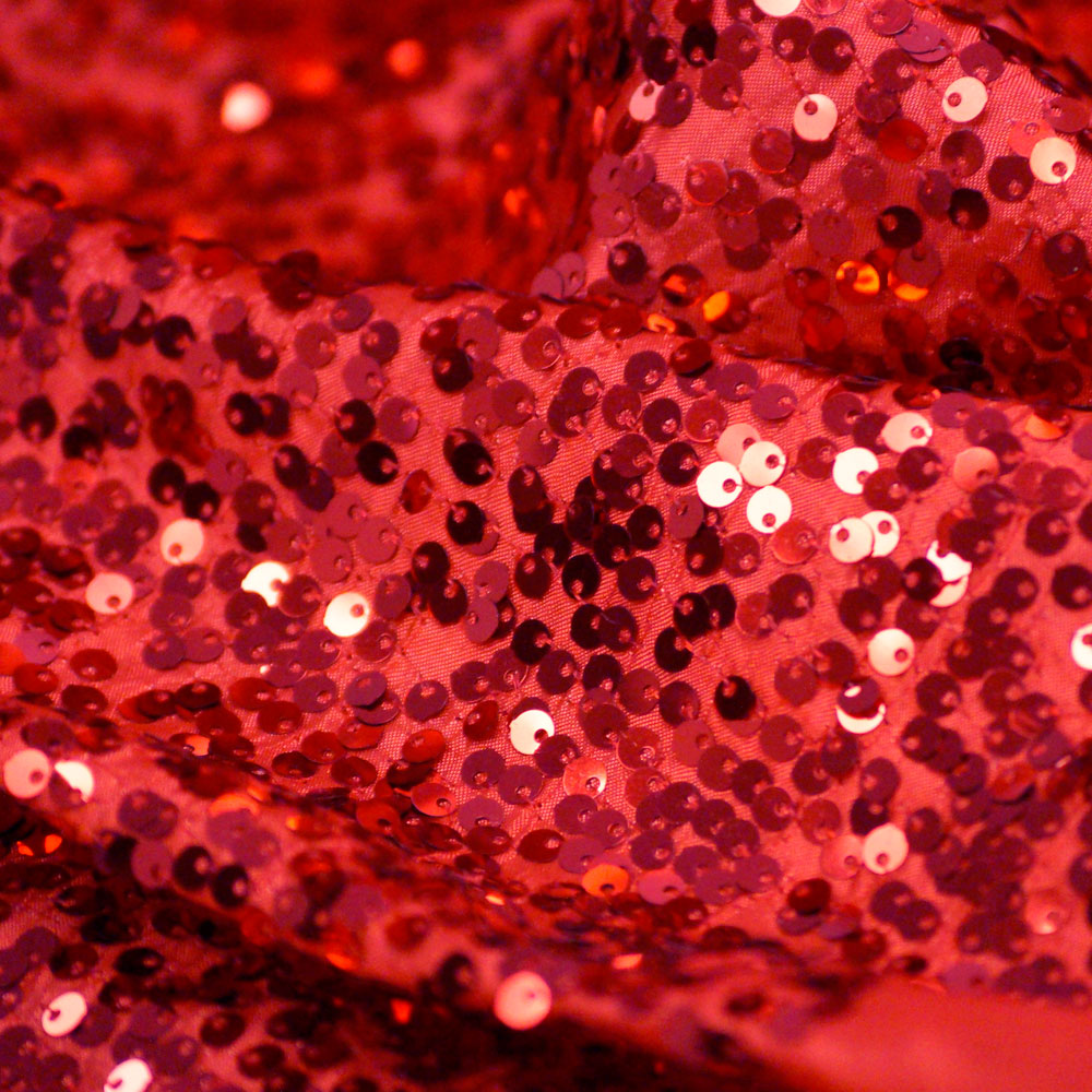 Red Taffeta Raindrop Sequin Wedding Fabric by the Yard