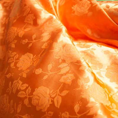 Orange Rose Satin Jacquard