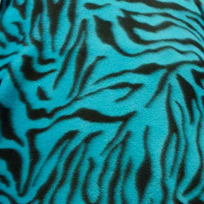 Zebra Stripes Turquoise Background Fleece