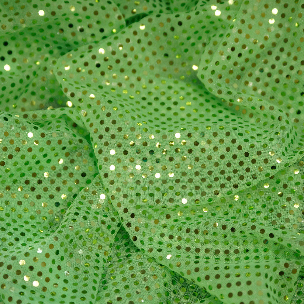 Lime Green Confetti Dot Sequin Cheer Bow Costume Fabric by the Yard