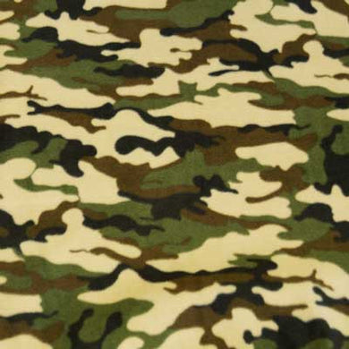 Camouflage Fleece - Green and Brown Fabric by the Yard