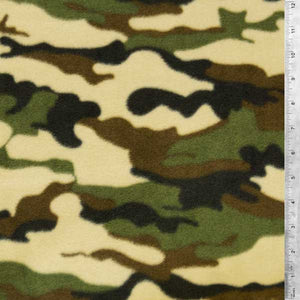 Camouflage Fleece - Green and Brown Fabric