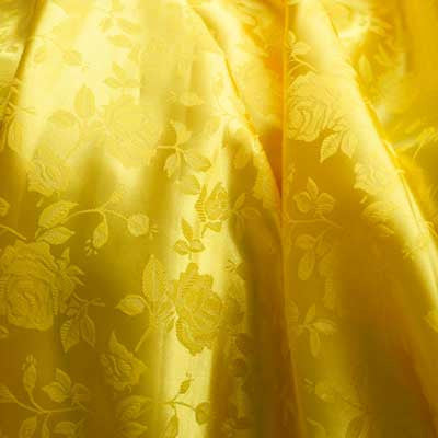 60 Width Sold By The Yard YELLOW Floral Rose Jacquard Satin Fabric