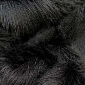Black Long Pile Shaggy Faux Fur