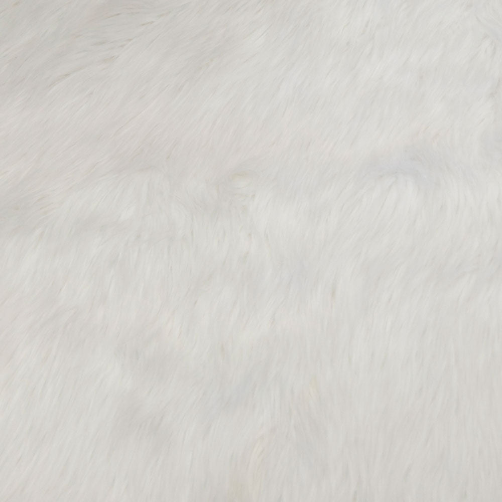 White Long Pile Shaggy Faux Fur Fabric