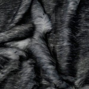 Charcoal Gray Husky Long Pile Faux Fur Fabric