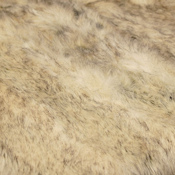 White & Brown Coyote Long Pile Faux Fur Fabric