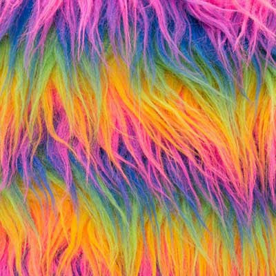 Rainbow Monkey Long Pile Faux Fur