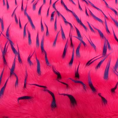 Purple on Hot Pink Spike Long Pile Faux Fur