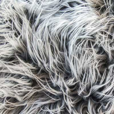 Frosted Mongolian Gray Long Pile Faux Fur