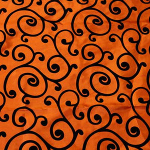 Flocked Orange Taffeta with Black Swirls