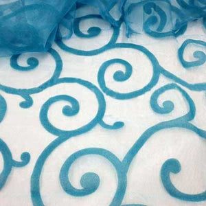Flocked Aqua Organza Swirls