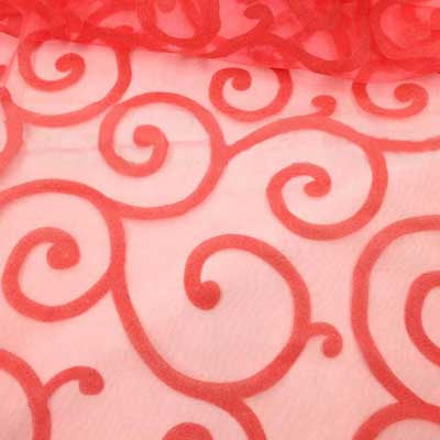 Flocked Coral Organza Swirls