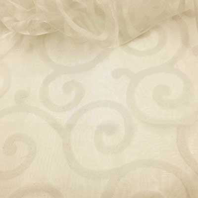 Flocked Ivory Organza Swirls