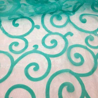Flocked Sage Organza Swirls