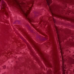 Wine Red Rose Satin Jacquard Fabric by the Yard