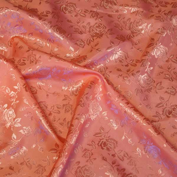 Coral Rose Satin Jacquard Fabric by the Yard